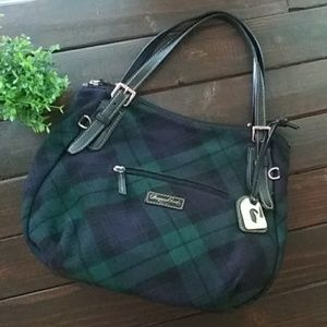 Dooney & Bourke Navy Plaid Shoulder Bag Purse